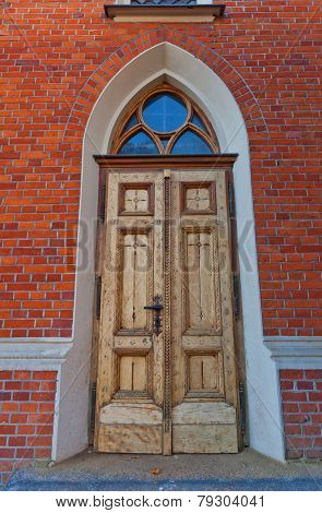 Entrance Of Dormition Blessed Mary Church In Lodz, Poland