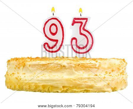 Birthday Cake With Candles Number Ninety Three