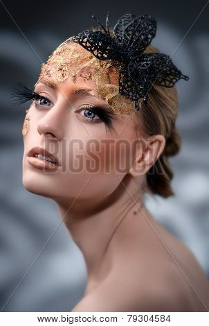 Creative Makeup. False Eyelashes.
