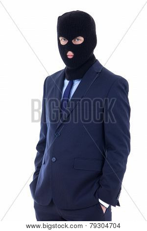 Man In Business Suit And Black Burglar Mask With Hand Extended To Handshake Isolated On White