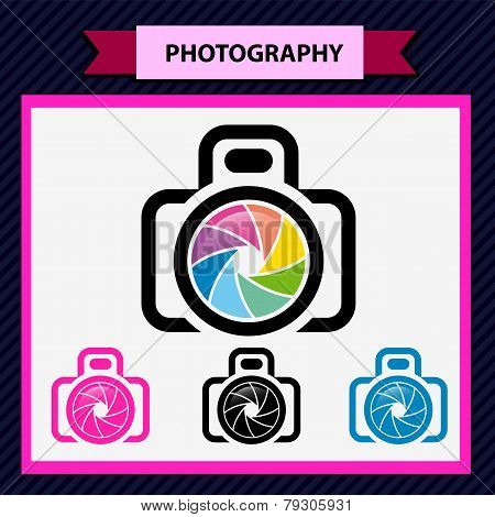 Photo camera icon, aperture color lens design