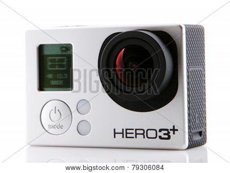 Aytos, Bulgaria - Januari 04, 2015: Gopro Hero3+ Black Edition Isolated On White Background. Gopro I
