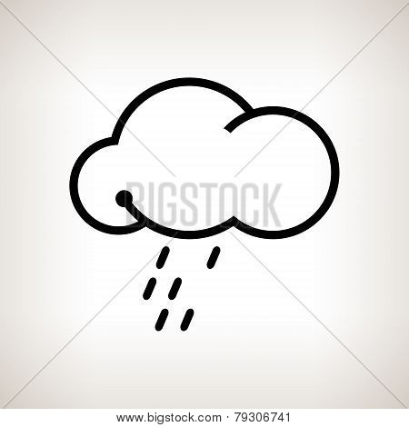 Silhouette cloud  with the rain , vector illustration