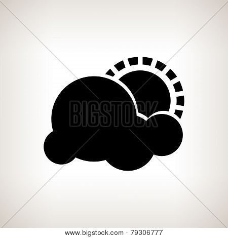 Silhouette cloud with sun , vector illustration