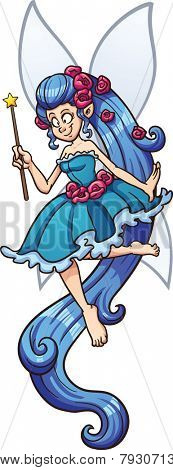 Blue cartoon fairy with magic wand. Vector clip art illustration with simple gradients. Fairy and wings on separate layers.