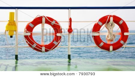 Two Life Buoys By The Ship