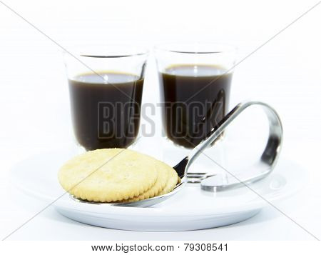 Espresso Shots With Cracker Serve On White Plate