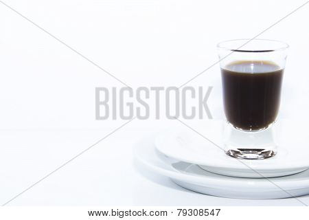 Espresso Shot On Double White Plate