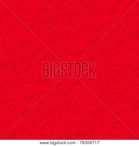 Red seamless pattern with hearts. Vector illustration.