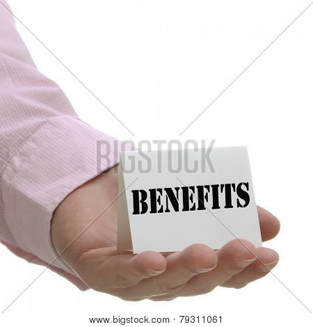 Business man holding benefits sign on hand