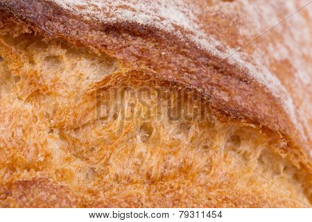 Crackling white bread. Close up.