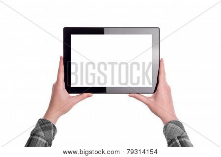Hands Holding Digital Tablet Computer