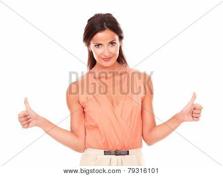 Charming Latin Lady With Thumb Up