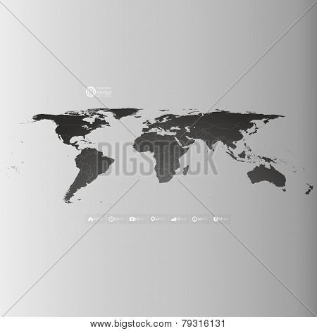 World map in perspective, infographic vector template for business design