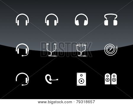 Headset icons on black background.