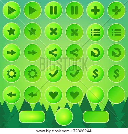 Game UI buttons - green vector elements