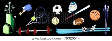Horizontal Image Items Of Sports Equipment From Different Sports