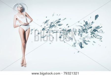 Woman In White Hat With Broken Glass And Ice