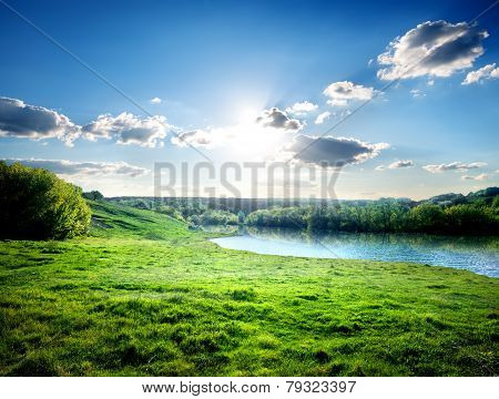 Lawn near river