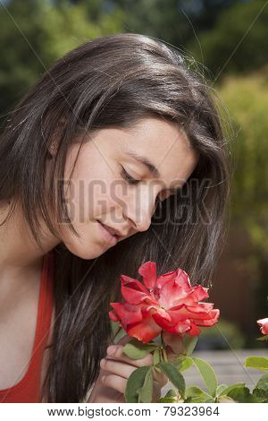 Smelling Red Flower
