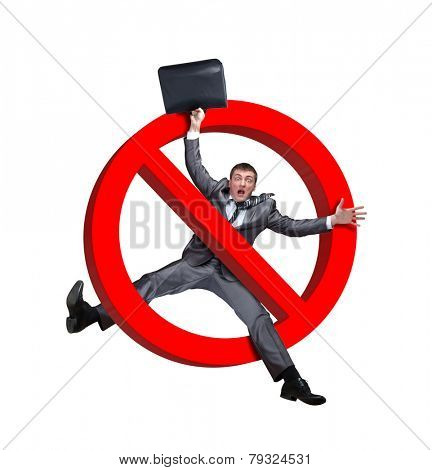 Sign no businessman on white