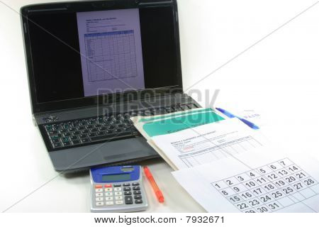 Computerized Financial And Tax End Of The Year. Tax Declaration Preparation.