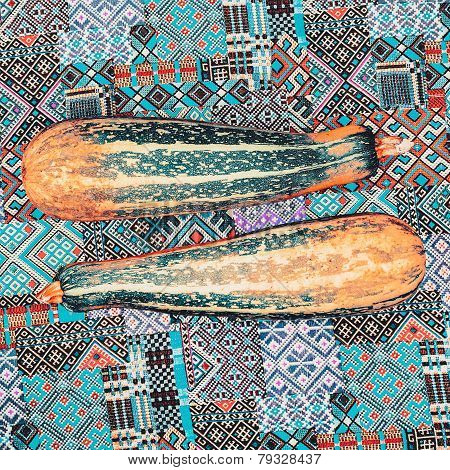 Glamorous Zucchini On The Fabric Ornament Background