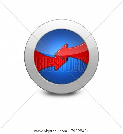Blue Button With Counter Red Arrows