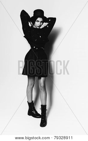 Black And White Attractive Girl In Black Hat