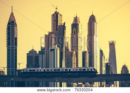View Of Dubai With Subway