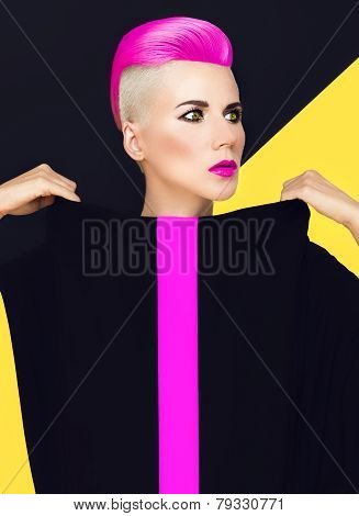 Exclusive Fashion Photo. Model With Trendy Hairstyle. Colored Hair