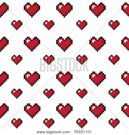Pixel hearts valentine's day seamless background.