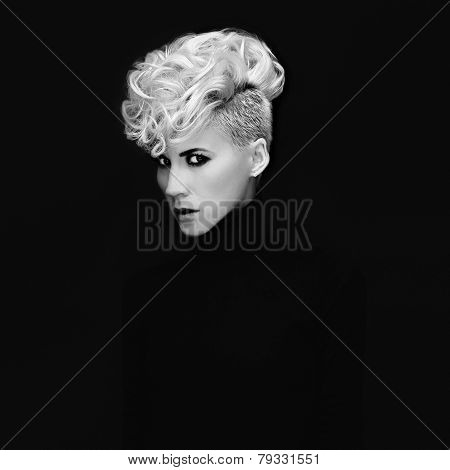 Sensual Portrait Lady With Fashionable Hairstyle On Black Background