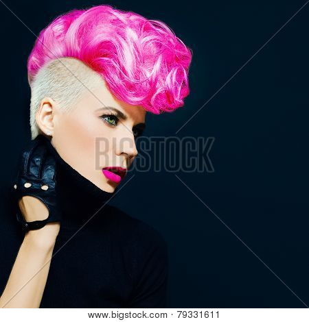 Sensual Portrait Lady With Fashionable Haircut Colored Hair On A Black Background