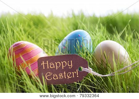 Happy Easter Background With Colorful Easter Eggs And Label