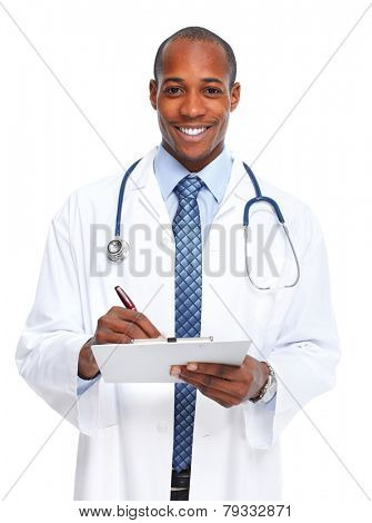 African-American doctor man writing prescription isolated white