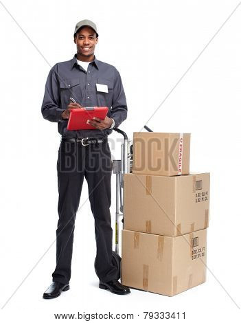 African-American postman isolated on white background