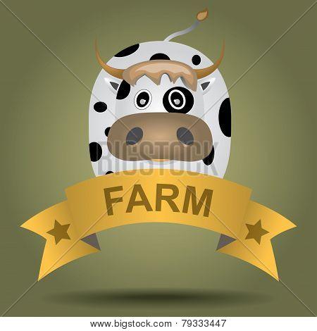 cartoon logo with a cow