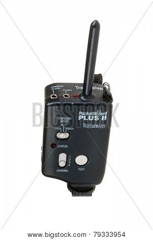 Hayward, CA - January 1, 2015: Pocket Wizard Plus II wireless transmitter receiver for triggering strobes, flashes and cameras remotely