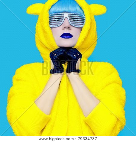 Teddy Bear Crazy Girl In A Bright Hoodie On A Blue Background Color Exclusive