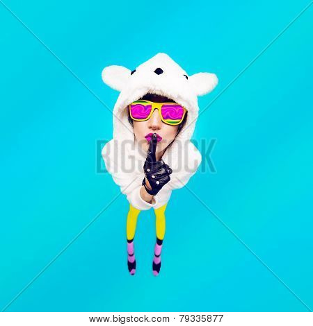 Funny Girl In Secret Hoodie Bear On A Blue Background. Guess Her