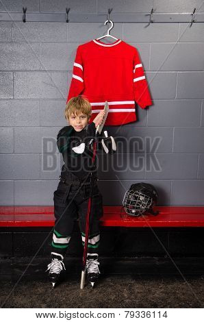 Rookie Hockey Player Getting Ready