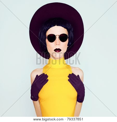 Fashionable Glamorous Lady In Burgundy Vintage Hat And Gloves