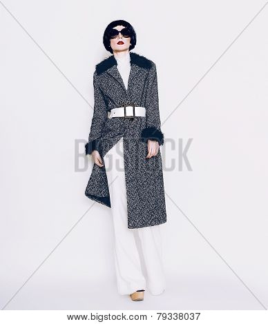 Brunette Model In Fashionable Coat