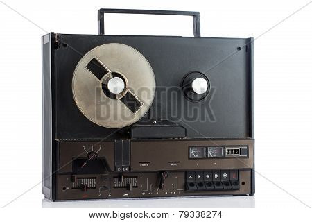 Retro Tape Recorder On White Background