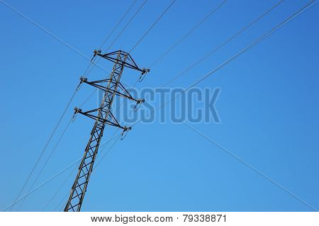 high voltage tower against the sky.