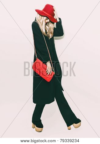 Glamorous Fashion Blond Girl In Classic Black Coat And Red Hat. Autumn Style