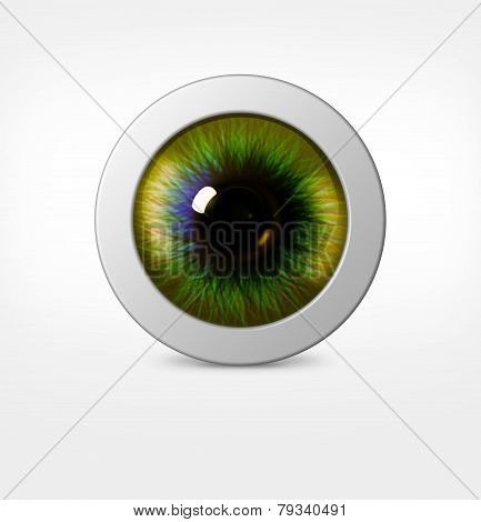 3D Eye Of Man On White Background