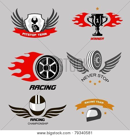 Car racing badges and motorcycle service, Championship logos