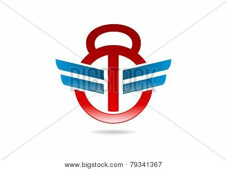 abstract barbell logo, sport icon